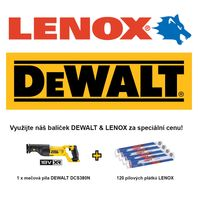 Mečová pila DEWALT + 120 pilových plátků LENOX