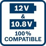 10,8 a12V 100% kompatibilní; Veškeré 10,8V nářad