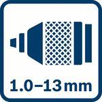 Kovové upínací sklíčidlo 1,0–13,0mm
