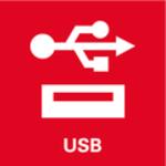 Přípojka USB<br/> Dvě rychlé přípojky USB k nabíjení a používání USB strojů